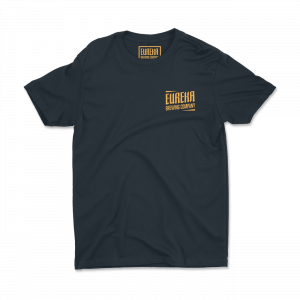 Eureka Brewing navy shirt with gold logo