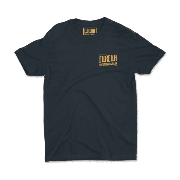 Eureka Brewing navy shirt with gold logo