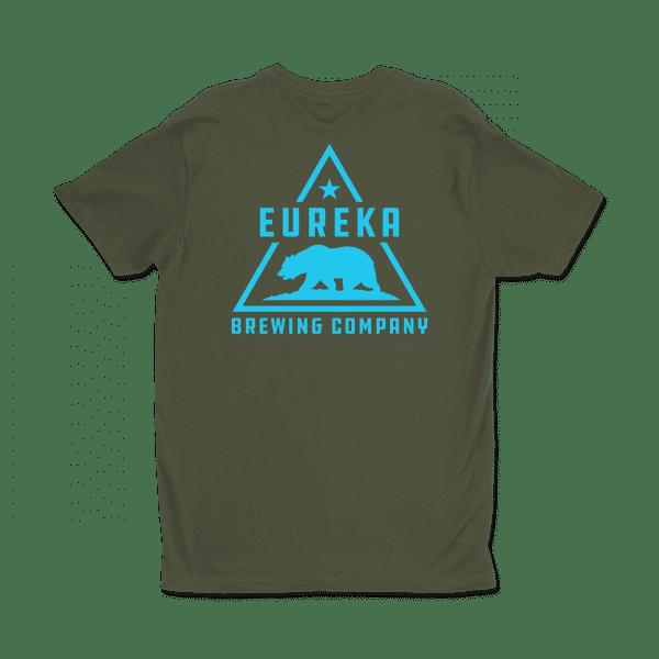 Eureka Brewing green shirt with aqua logo, back