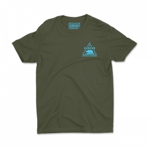 Eureka Brewing green shirt with aqua logo