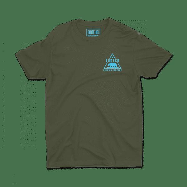 Eureka Brewing green shirt with aqua logo